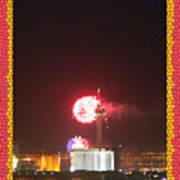 Fireworks Over The Las Vegas Strip Art Print