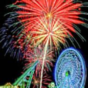 Fireworks-wildwood Nj Boardwalk Art Print