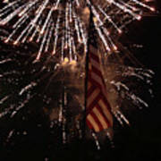Fireworks With Flag Art Print by Alan Look