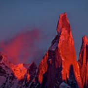 First Light On Cerro Torre - Patagonia Art Print