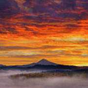 First Light On Mount Hood During Sunrise Art Print