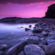 First Light On The Rocks At Indian Head Cove Art Print