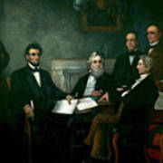 First Reading Of The Emancipation Proclamation Of President Lincoln Art Print