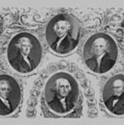 First Six U.s. Presidents Art Print by War Is Hell Store