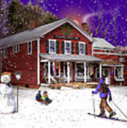 First Snow At The South Woodstock Country Store Art Print