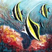 Moorish Idol Fish And Coral Reef Art Print