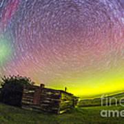 Fish-eye Lens Composite Of Aurora Art Print