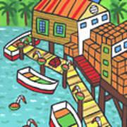 Fish House-cedar Key Art Print