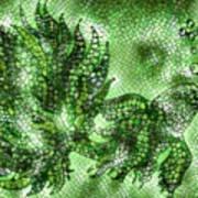 Fish In Green Mosaic 2 Art Print