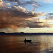 Fisherman At Sunset On Lake Titicaca Art Print