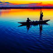 Fisherman Boat On Summer Sunset, Travel Photo Poster Art Print
