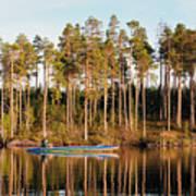 Fisherman On Evening Lake Art Print