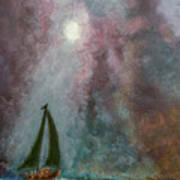 Fisherman Under Full Moon Art Print