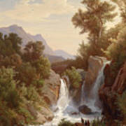 Fishermen By The Waterfall Art Print