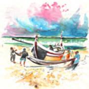 Fishermen In Praia De Mira 03 Art Print