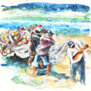 Fishermen In Praia De Mira Art Print
