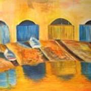 Fishermens Boats At Sundown Art Print