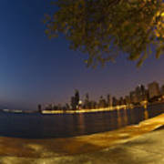 Fisheye Chicago Skyline At Dawn Art Print