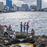 Fishing Along The Malecon Art Print