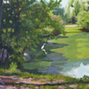 Fishing At Glen Rock Pond Art Print