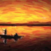 Fishing At Golden Hours Art Print