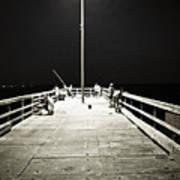 Fishing At Night Art Print