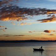 Fishing At Sunset On Lake Titicaca Art Print