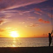 Fishing At Sunset Art Print