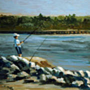 Fishing At The Point Art Print