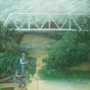 Fishing At The Pump House On White Oak Creek Art Print