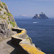 Fishing Boat Approaching Skellig Michael, County Kerry, In Spring Sunshine, Ireland Art Print