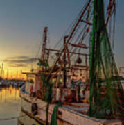 Fishing Boat At Sunset Art Print
