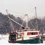 Fishing Boat Emma Rose In Winter Cape Cod Art Print