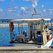 Fishing Boat Moored In The Harbor Of Katakolon Greece Art Print
