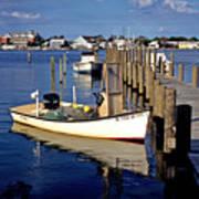 Fishing Boats At Dock Ocracoke Village Art Print