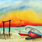 fishing boats Corozal Belize Art Print