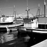 Fishing Boats Monochrome Art Print