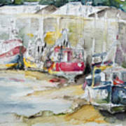 Fishing Boats Settled Aground During Ebb Tide Art Print