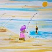 Fishing Girl Art Print