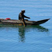 Fishing In Atitlan Lake Art Print