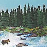 Fishing In Yellowstone National Park Art Print