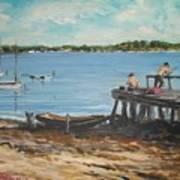 Fishing Off The Docks At Point Judith R.i. Art Print