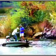 Fishing On Saguaro Lake In Arizona Art Print
