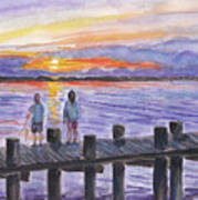 Fishing On The Dock Art Print