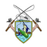 Fishing Rod Reel Blue Marlin Beer Bottle Coat Of Arms Drawing Art Print