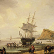 Fishing Scene, Teignmouth Beach And The Ness, 1831 Art Print