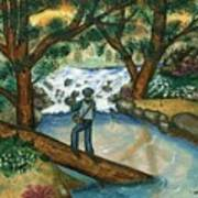 Fishing the Sunny River Art Print