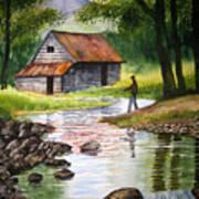 Fishing Upstream Art Print