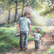 Fishing With My Dad  Art Print by Laurie Shanholtzer