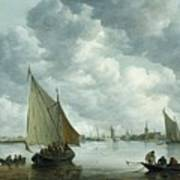 Fishingboat In An Estuary Print by Jan Josephsz van Goyen